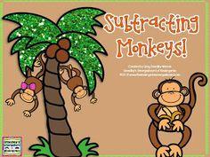 A Kindergarten Smorgasboard Adding and Subtracting Monkey FREEBIE! - Smedleys Smorgasboard of Kindergarten Subtraction Kindergarten, Kindergarten Smorgasboard, Preschool Math, Kindergarten Classroom, Teaching Math, Math Activities, Subtraction Activities, Maths Resources, Kindergarten Centers