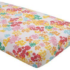 Floral Gem Crib Fitted Sheet. Land of Nod.