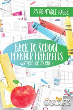 Watercolor Planner Printables with a fun School theme! Daily, Weekly and Monthly Layouts plus habit trackers and lined journaling paper. Mix and Match style planner to create your own custom journal!  #plan #planner #calendar #junkjournal #personaldevelopment #lifeplanner #studyplanner #collegeplanner #blogplanner #personalplanner #dailyplannerlayout #dayplannerdesign #calendardesign #printablecalendar #homeoffice #goalsetting #dormroom #businessmotivation #journalideas #traveljournal #diy Study Planner, Planner Layout, Blog Planner, Planner Pages, Life Planner, Printable Planner, College Planner, School Planner, Teacher Planner