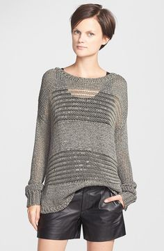 Vince Shadow Stripe Open-knit Sweater in Acorn