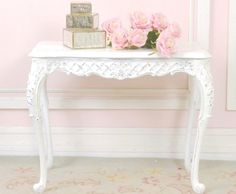 Shabby Cottage Chic Vintage French Style End by TheBellaCottage Decor, White Side Tables, Shabby Chic Decor, Furniture, Bedroom Decor, Shabby Chic Cottage, Pom Pom At Home, Home Decor, Girly Room