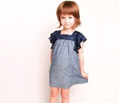simple dress with flutter sleeves - cute mix of simple patterns