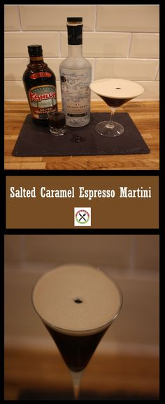 An amazing Salted caramel twist on the popular Espresso Martini Salted Caramel Vodka, Caramel Martini, Espresso Martini, Coffee Vodka, Vodka Mixes, Cafe Barista, Fall Drinks, Xmas Food, Blended Coffee
