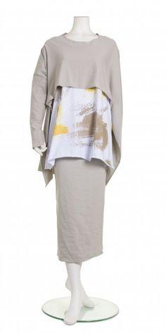 Nuovo Borgo Soft-Grey Cut Away Top, £109.00 with Hand Painted Jersey Tunic, £95.00 and Chic Skirt, £125.00 | idaretobe