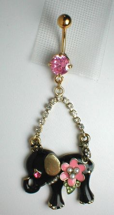Unique Belly Ring - Black Elephant Pendant On A Belly Ring. $14.95, via Etsy.