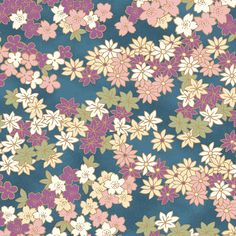 Chiyogami: Spring Blossoms - Blue/Gold Metallic (1/2 Yard) - Asian Quilt Fabric from www.debsews2.com