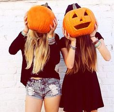 Pumpkins #girls #blond #brunette #halloween #orange #black dress #black top and hot pants