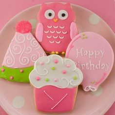 Adorable pink/lime green cookies by TS Cookies via Daily Art Shop