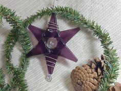 Teacher Gift / Handmade Fused Glass Star / Medium Purple Ornament / Suncatcher / Wedding Decoration by IntheShadeoftheSycamoreTree, $12.75 USD