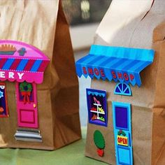 Paper Bag Buildings - Things to Make and Do, Crafts and Activities for Kids - The Crafty Crow School Projects, Projects For Kids, Craft Projects, Crafts For Kids, Arts And Crafts, Quick Crafts, Volume Art, Paper Bag Crafts, Paper Bags