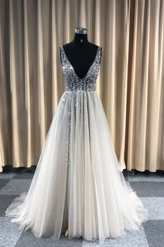 V-Neck Sequined Bodice Tulle Prom Dresses with Slit – Angrila Bodice Wedding Dress, Tulle Prom Dress, Slit Dress, Wedding Bridesmaid Dresses, Prom Dresses, Formal Dresses, Custom Dresses, Boutique Dresses, Dream Dress