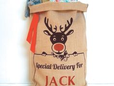 Personalised Hand Screenprinted Santa Sack, Rudolf The Red Nose Reindeer