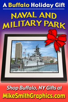 Highly detailed drawing featuring Naval and Military Park in Buffalo, NY by Western NY artist Michael Smith. Shop for unique artwork in a variety of subjects at MikeSmithGraphics.com. Limited Edition Prints, Wall Art Prints, Buffalo, Military, Ink, Drawings, Unique, Artist, Artwork