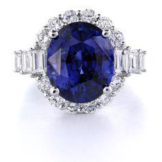 Diamond and Ceylon Blue Sapphire 18k White Gold Ring