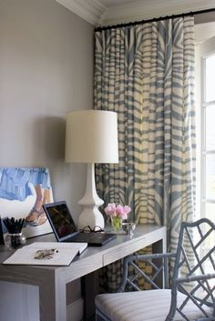 zebra curtains, Parsons desk and Chippendale chair via Life Of Style Chinese Chippendale Chairs, Decor, Chippendale Chairs, Zebra Curtains, Designer Window Treatments, Transitional Living Rooms, Interior, Home Decor, Luxury Interior Design
