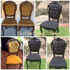 Refurbished by painting with gloss black, new, foam upholstery & diamanté buttons. I love vintage pieces www.facebook.com/Jomarievintagefurniture
