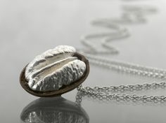 silver Pecan necklace nature jewelry  Sterling Silver by GurKimel, $95.00