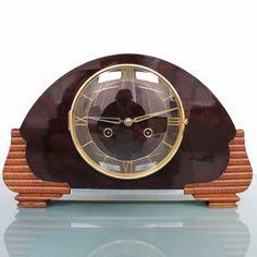 Mauthe Mantel Clock Top Antique Real Bakelite Front Shelf Chrome Features German | eBay
