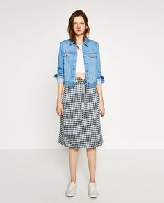ZARA - TRF - CHECKED SKIRT WITH MIDI BOW