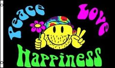 Peace Love and Happiness Flag Hippie Party Banner Sign Pennant New 3x5 | Jet.com
