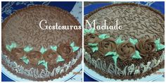 Bolo de chocolate com recheio de chocolate e cobertura de buttercream de chocolate e aplicações em rosas e grade de chocolate branco. Para festa de aniversário feminino