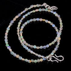 "20CRTS SMALL SIZE 17.5"" ETHIOPIAN  OPAL  BEAUTIFUL OVAL BEADS NECKLACE OBI329 #OPALBEADSINDIA"