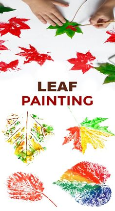 Fun & creative ways for kids to paint with leaves. Fall leaf crafts for preschool and elementary. Turn fallen leaves into beautiful works of art with this autumn craft for kids ! We began by going on a hike to collect fallen leaves. Then, we set ou… Fall Arts And Crafts, Crafts For Kids To Make, Fall Crafts For Preschoolers, Autumn Crafts Kids, Winter Craft, Kids Diy, Autumn Activities For Babies, Crafts For Babies, Autumn Art Ideas For Kids