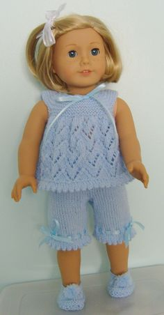 "American Girl Doll. Cream of the ""Crops"" PJs or Playtime Sets PDF Knitting Pattern No 17. $4.00, via Etsy."