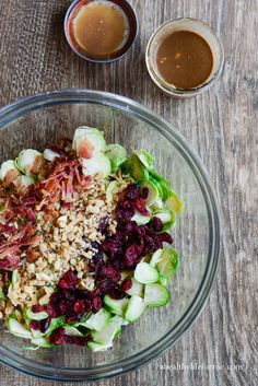 Brussels Sprouts Cranberry Salad with Greek Yogurt Vinaigerette is loaded with healthy goodness and is gluten free.