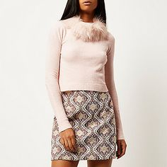 Pink knitted faux fur collar jumper - jumpers - knitwear - women