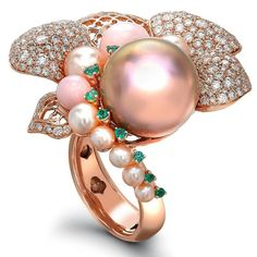 Peony Dawn Ring #Jewellery #Diamonds #Pearls #Emeralds @sarahhojewellery
