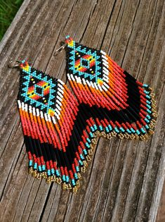 Native American Diamond Pattern Earrings by MauiWings on Etsy, $110.00
