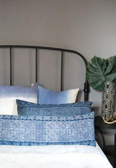 Lumbar Hmong Pillow, Tribal Hand Print batik Ethnic Bolster Pillow, Vintage indigo batik Hmong cushion