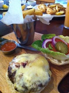 Tea at Thyme Cafe, Broomhill. Cheesburger & fries
