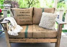 Burlap Pallet Bench - Two of my fave things - burlap and pallets - what a result! - #GardenPallets - Click Pic for loads of Pallet ideas!