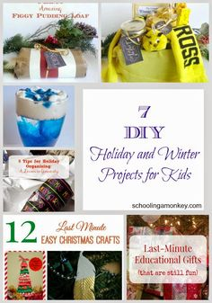 """7 DIY Holiday and Winter Projects for Kids ~ Schooling a Monkey - """"Dat Be Nice"""" link party #3"""