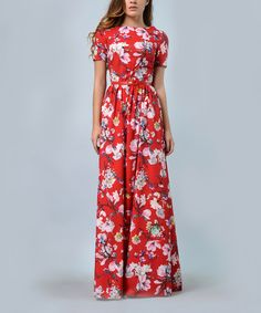 Look at this Lila Kass Red Floral Belted Silk-Blend Maxi Dress - Plus Too on #zulily today!