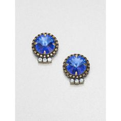 DANNIJO Swarovski Crystal Button Earrings ($150) ❤ liked on Polyvore