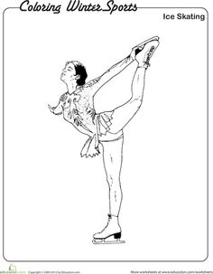ice skating coloring page for kids. | Ice Skating Coloring Pages ...