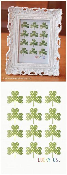"""Lucky Us"" Polka Dot Shamrocks FREE St. Patrick's Day Printable! via Landeelu"