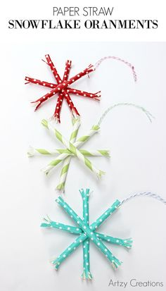 Darling DIY Paper Straw Snowflake Ornaments! So cute and easy to make!