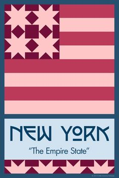 Olde America Antiques | Quilt Blocks | National Parks | Bozeman Montana : 50 STATE QUILT BLOCK SERIES - NEW YORK - version 2