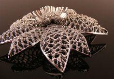 Emmons Flower Brooch Silvertone Filigree Large Pin available at: http://www.TidBitz.etsy.com, $18.00