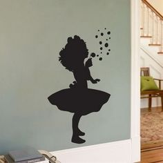 Little Girl Blowing Bubbles - Silhouette Wall Decal Sticker Graphic Kids Room Wall Decals, Wall Decal Sticker, Little Girl Rooms, Little Girls, Dandelion Wall Decal, Dandelion Art, Little Green Notebook, Blowing Bubbles, Blowing Kisses