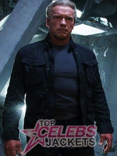 Terminator Genisys Arnold Schwarzenegger Jacket  http://www.topcelebsjackets.com/product/terminator-genisys-arnold-schwarzenegger-jacket #arnold #fighter #raw #terminator #genisys #mensfashion #style #actor #cool #latest #back #action #guns #machines #black #jacket #cotton #look #enjoy  #gifts #celebsjackets #more #instock #orderit