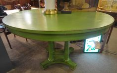 Painted Green Vintage Round Dining Table 48 3 4 Across X 30 4h Dealer 55 695