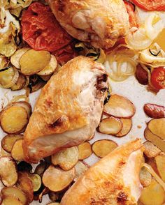 Sheet Pan Dinner: Chicken with Provencal Vegetables ~ the combination of zucchini, tomato,  potato, and onion sounds delicious with the chicken but I would add more seasoning than salt. Perhaps basil or rosemary.