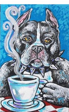 PIT BULL COFFEE  painting hanging in the office of Shorty Rossi by Dawn Tarr