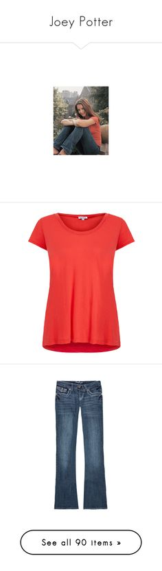 """""""Joey Potter"""" by vilena-ferreira ❤ liked on Polyvore featuring tops, t-shirts, shirts, red, short sleeve shirts, short sleeve scoop neck tee, red jersey, red top, red shirt and jeans"""