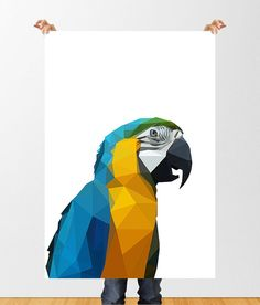 Low Poly Parrot Print, Polygon Art, Jungle Nursery, Digital Download, Printable Wall Art, Geometric Animal, Home Decor, Tropical Bird